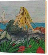 Mermaid Sailboat Flowers Cathy Peek Fantasy Art Wood Print