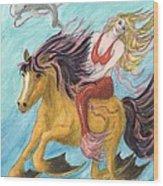 Mermaid Sea Horse Dolphin Fantasy Cathy Peek Wood Print