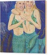 Mermaid Sisters Jelly Fish Cathy Peek Art Wood Print