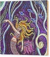 Mermaid Under The Sea Wood Print