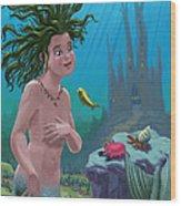 Mermaid Underwater City Wood Print