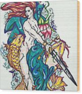 Mermaid Warrior Wood Print