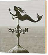 Mermaid Weathervane In Sepia Wood Print by Ben and Raisa Gertsberg