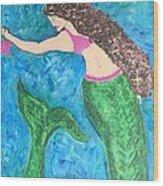 Mermaid With Star Fish  Wood Print