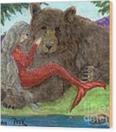 Mermaids Bear Cathy Peek Fantasy Art Wood Print