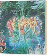 Mermaids Danicing Wood Print
