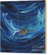 Mermaids Dolphin Buddy Wood Print