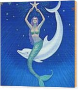 Mermaids- Dolphin Moon Mermaid Wood Print