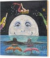 Mermaids Jumping Over Moon Cathy Peek Wood Print