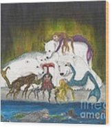 Mermaids Polar Bears Cathy Peek Fantasy Art Wood Print