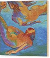 Mermaids Swimming Wood Print