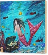 Mermaids Treasure Wood Print