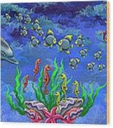 Mermaid's World Wood Print by Jenny Kirby