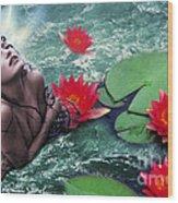 Mermeid And Water Lilies Wood Print