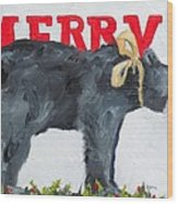 Merry Bear Wood Print