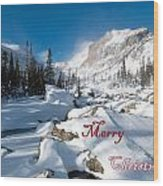 Merry Christmas Snowy Mountain Scene Wood Print