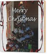 Merry Christmas - Greeting Card - Christmas Tree - Ribbons Wood Print