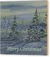 Merry Christmas - Snowy Winter Evening Wood Print