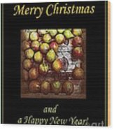 Merry Christmas And A Happy New Year - Little Gold Pears And Leaf - Holiday And Christmas Card Wood Print