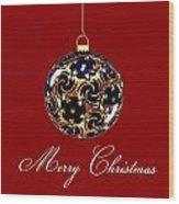 Merry Christmas Bauble Wood Print