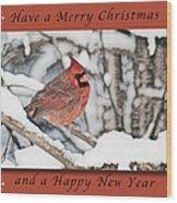Merry Christmas Cardinal Wood Print