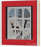 Merry Christmas Deer Wood Print