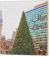 Merry Christmas From Philadelphia Wood Print