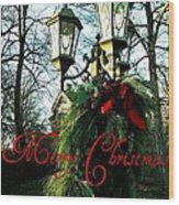 Merry Christmas Greeting Card Wood Print