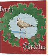Merry Christmas Greeting Card - Young Seagull Wood Print