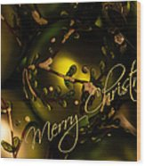 Merry Christmas Greeting Wood Print