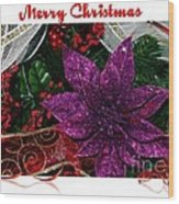 Merry Christmas Red Ribbon Wood Print