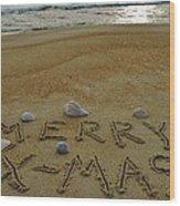 Merry Christmas Sand Art 1 12/25 Wood Print