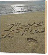 Merry Christmas Sand Art Footprint 4 12/25 Wood Print