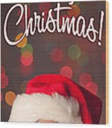 Merry Christmas Santa Card Wood Print