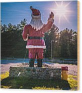 Merry Christmas Santa Claus Greeting Card Wood Print