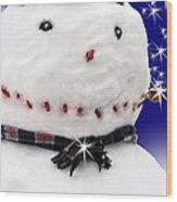 Merry Christmas Snowman Wood Print