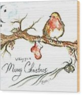 Merry Christmas Robin Wood Print