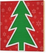 Merry Christmas Tree With Snowflake Background  Wood Print