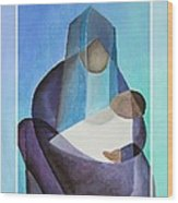 Merry Christmas Virgin Mary And Child  Wood Print