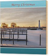 Merry Christmas Winter Marina And Lighthouse Wood Print