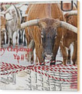 Longhorns Merry Christmas Ya'll Wood Print