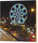Merry Ferris Wheel Wood Print by Troy Espiritu