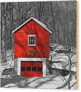 Merry Red Bw Wood Print