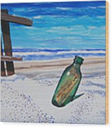 Message In A Bottle Wood Print