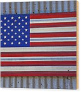 Metal American Flag Wood Print