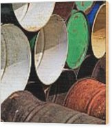 Metal Barrels 1 Wood Print