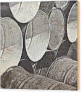 Metal Barrels 1bw Wood Print