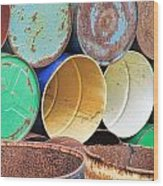 Metal Barrels 2 Wood Print