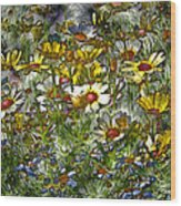 Metal Sunflowers Wood Print