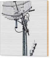 Metal Telecom Tower And Antennas Isolated On White Wood Print